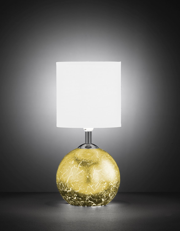Lichtdurchlässige Tischleuchte in Gold Optik
