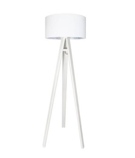 Stehlampe Holzleuchte Weiß Blau Wohnzimmer Dreibein
