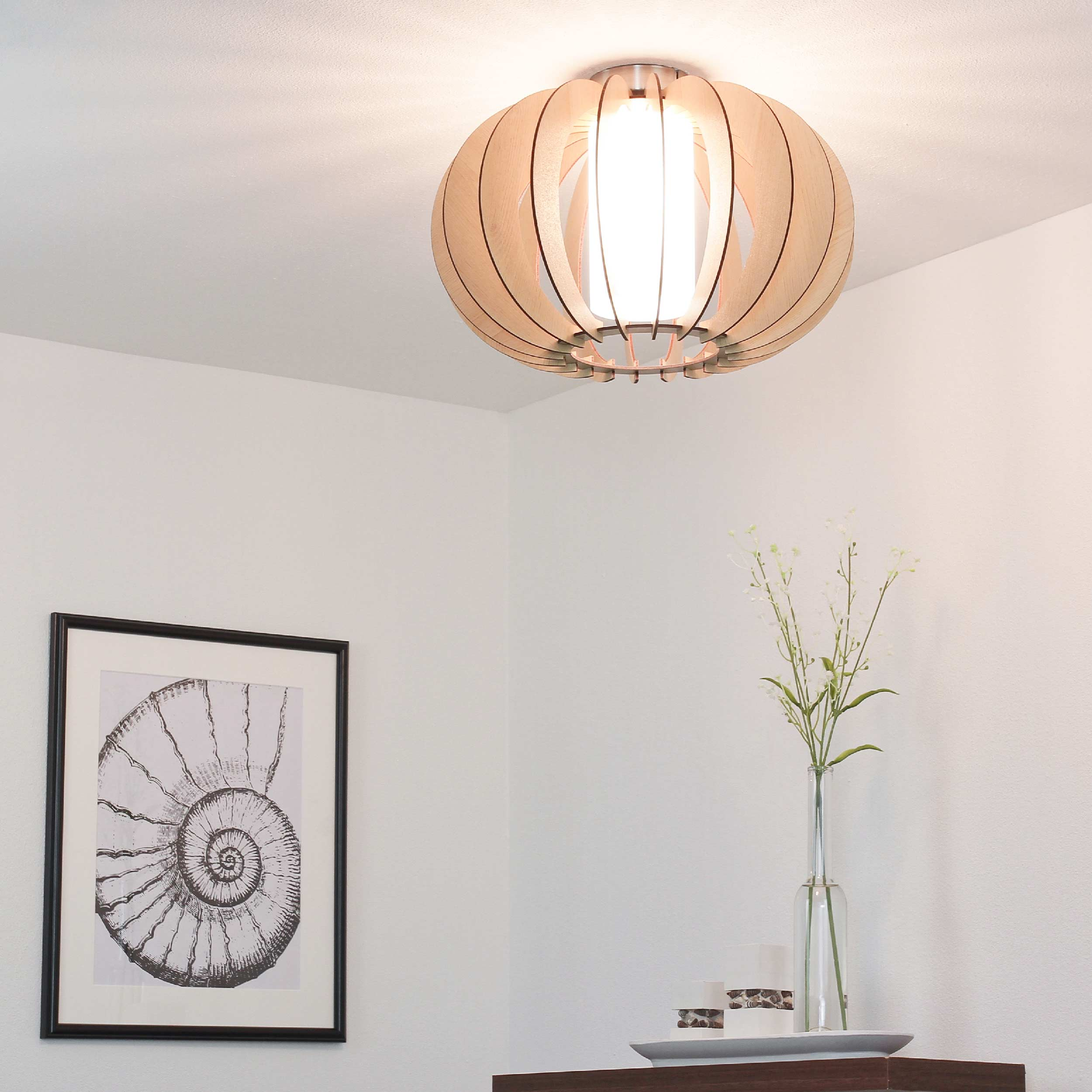 Holz Deckenlampe Ahorn Ø40cm Innenschirm aus Glas