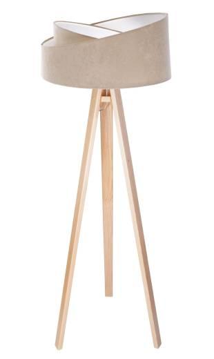 Dreibein Stehlampe LOREEN Beige Weiß 145cm Holz Stoff