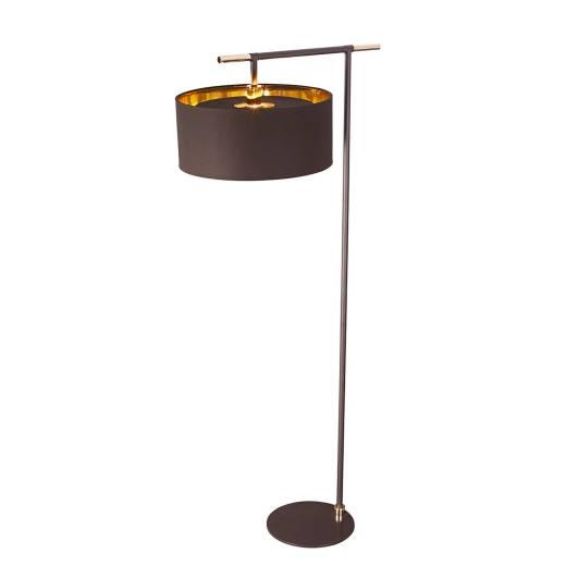 Stehlampe Braun Gold 162cm Stoff Schirm Wohnzimmer