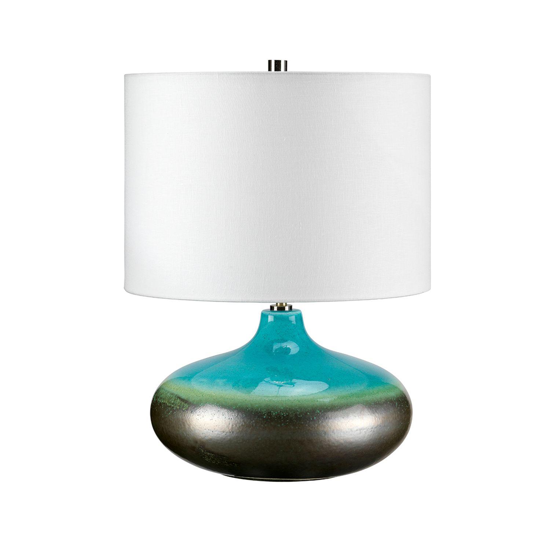 Tischleuchte LARA Türkis Porzellan H:48cm Lampe