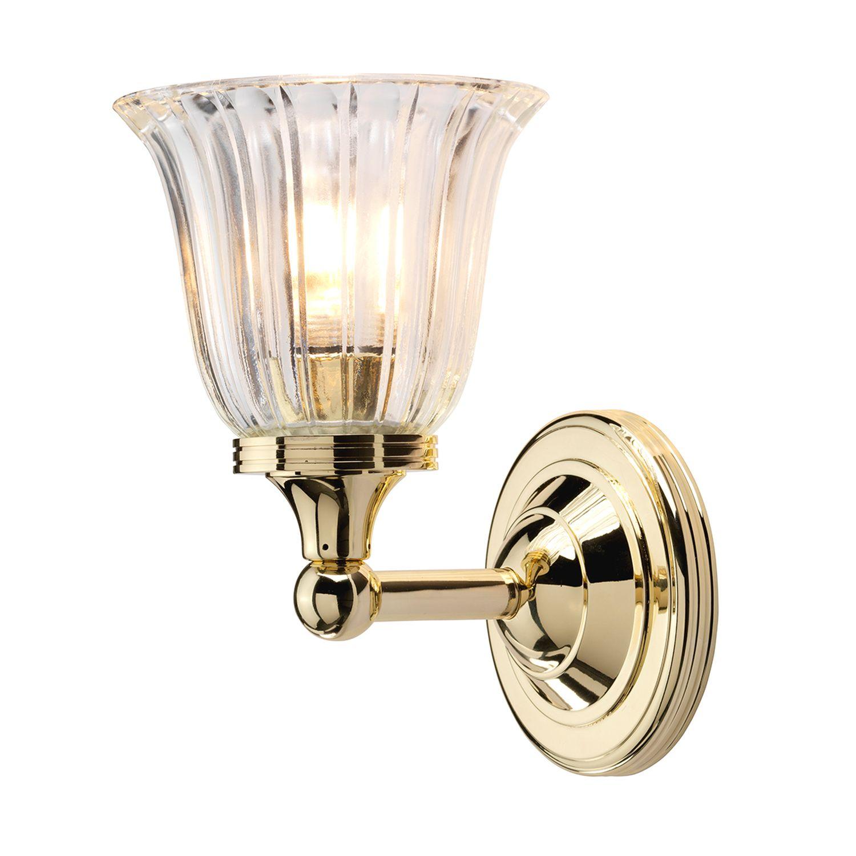 Messinglampe Bad IP44 mit LED Glas Schirm Jugendstil
