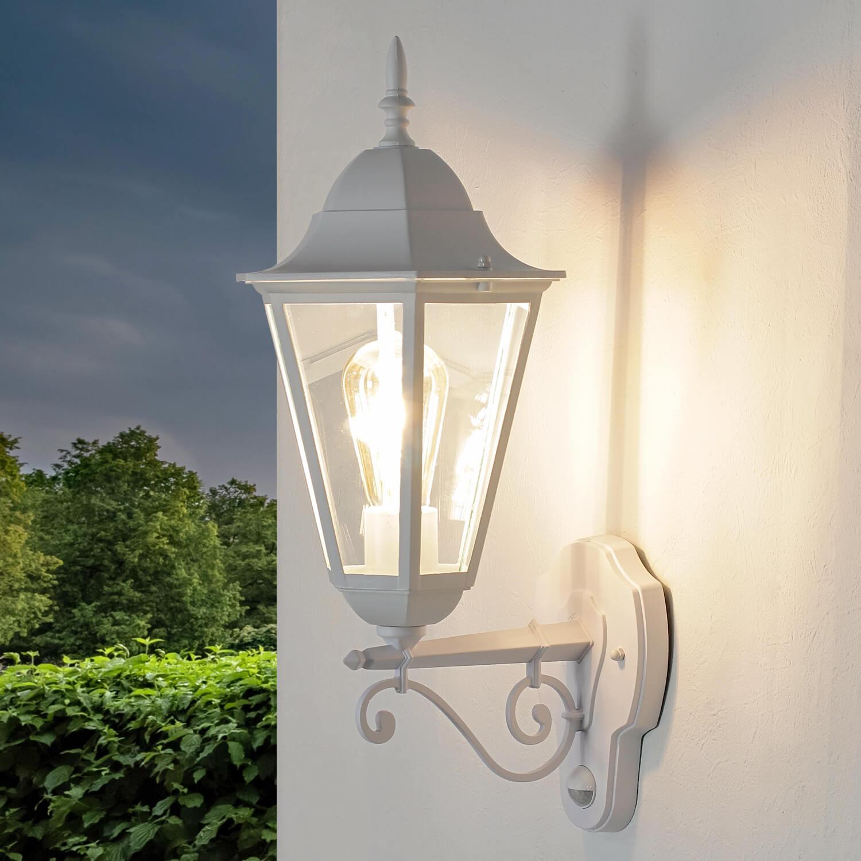 Große Außenlampe mit Bewegungsmelder E27 Weiß IP44