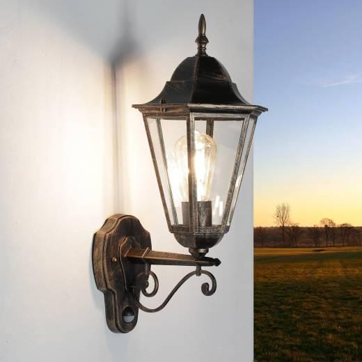 Rustikale Außenlampe mit Bewegungsmelder in Schwarz Kupfer
