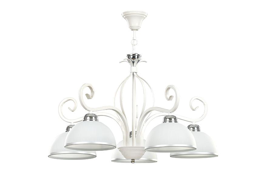 Deckenlampe Weiß Metall Glasschirme 5-flammig E27