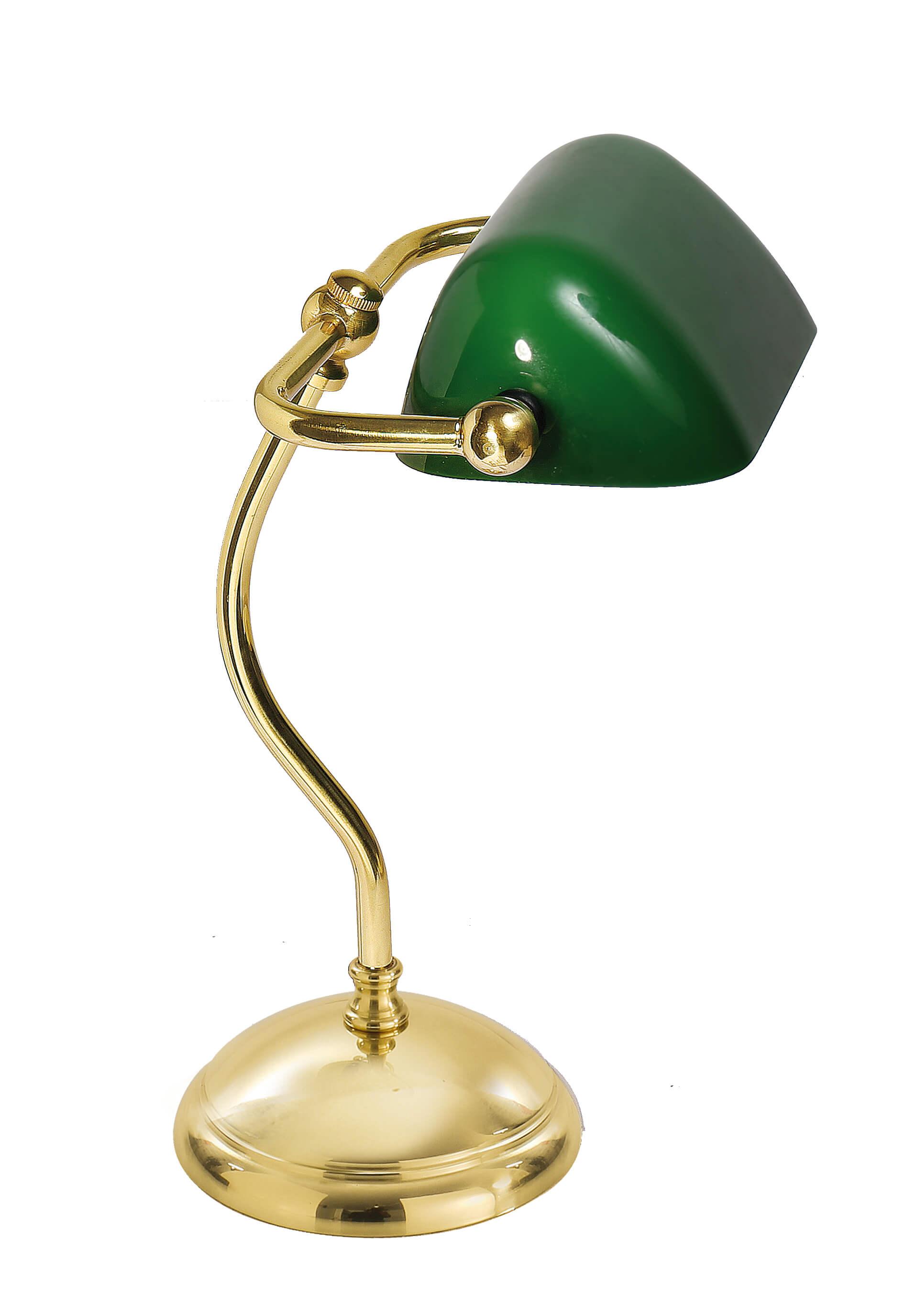 Tischlampe aus Messing Poliert Glasschirm Art Déco