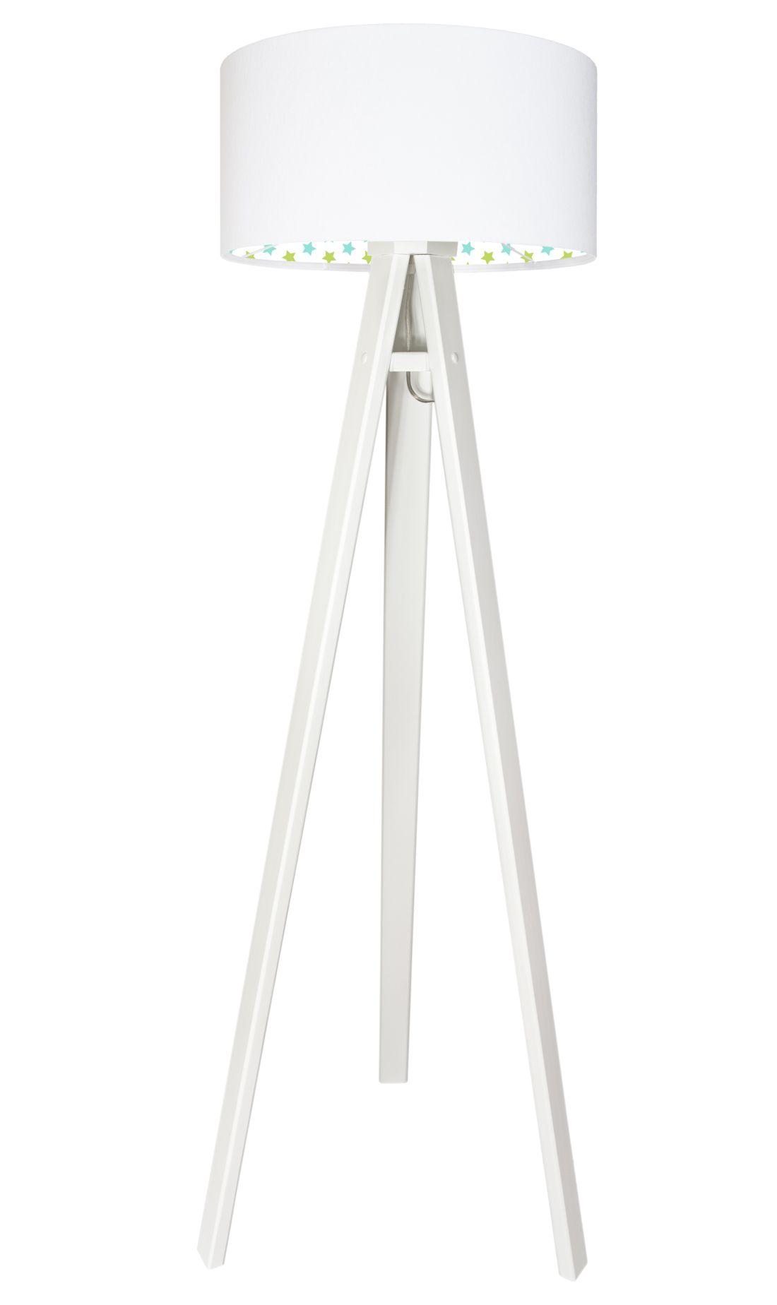 Stehlampe Holzgestell Weiß Grün Blau Dreibein 140cm