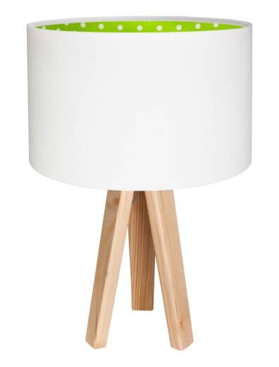 Tischlampe BRINA Weiß Grün Stoff 46cm Dreibein Kinder