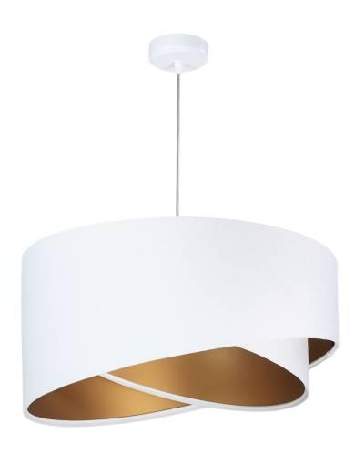 Pendelleuchte Weiß Gold Ø50cm Stoff rund Esstisch