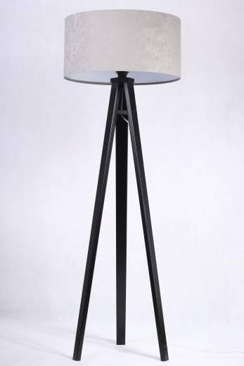 Stehlampe Holz Silber Dreibein 145cm Retro Wohnzimmer