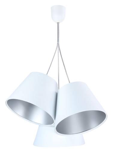 Pendelleuchte JOCY Weiß Silber Stoff 3-flmg Retro