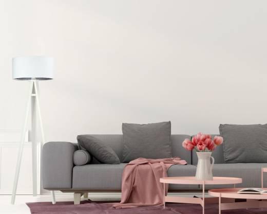 Stehlampe Wohnzimmer Weiß Holz Dreibein 140cm