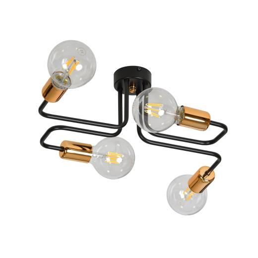 Deckenlampe Schwarz Kupfer Retro Industrie 4x E27
