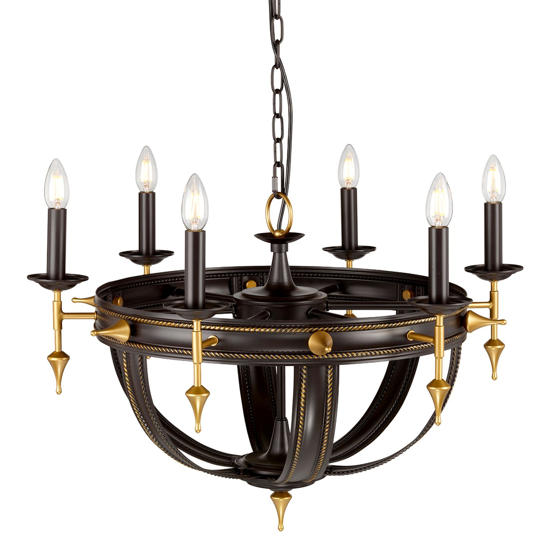 Pendelleuchte CAMELOT 6 in Antik Gold Ø71cm Lampe