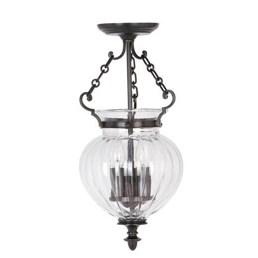 Deckenleuchte CANDELA 6 in Bronze Glas Ø22cm Lampe