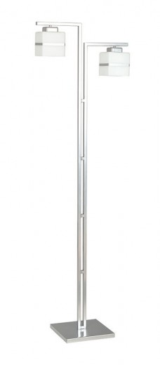 Stehlampe Bauhaus Weiß Chrom Glas Schirm 2-flammig