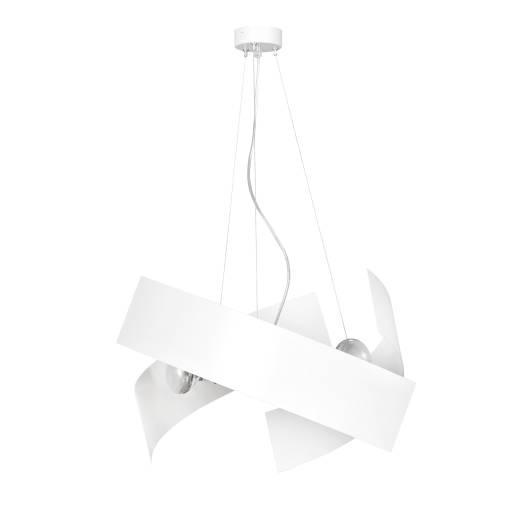 Design Hängeleuchte Weiß Chrom Metall 3-flammig E27