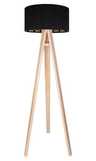 Stehlampe Holz Schwarz Dreibein 140cm Retro Wohnzimmer