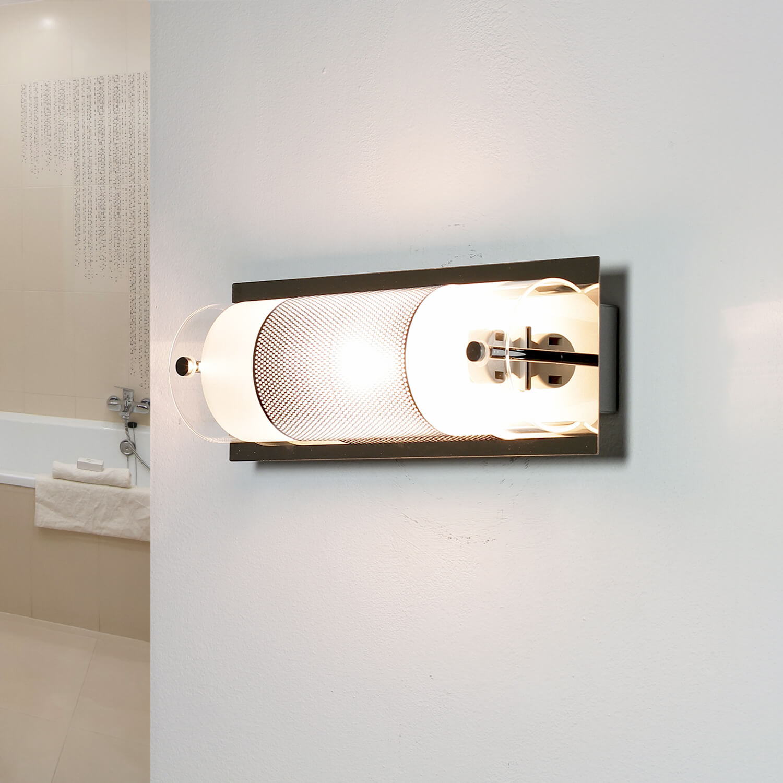 Badezimmerleuchte Weiß Chrom länglich Spiegel