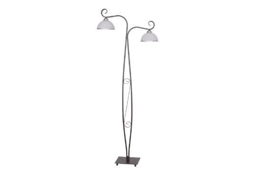Stehlampe Braun Weiß Glas Metall 2-flammig 160cm