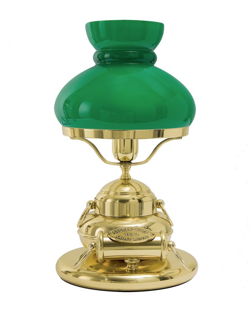 Tischlampe Grün Echt-Messing Premium Handarbeit