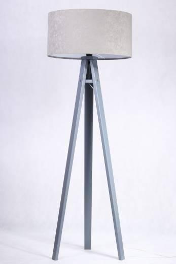 Stehlampe Holz Grau Silber Retro Dreibein 145cm