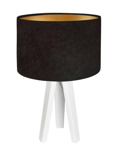 Dreibein Tischleuchte Stoff Holz in Braun Gold Weiß 46cm