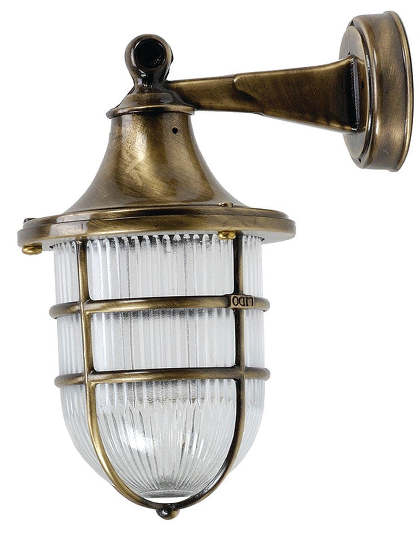 Außenwandlampe Glas Messing Maritim IP64 Terrasse