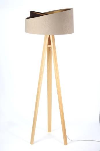 Stehlampe Wohnzimmer Beige Braun Dreibein 145cm