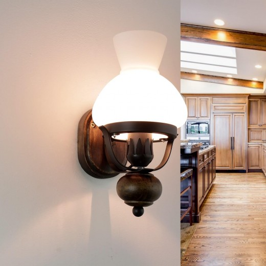 Urige Wandlampe Holz Glas E27 Landhaus Stil