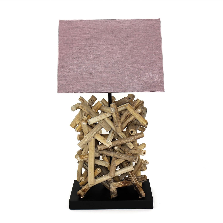 Design Tischleuchte Treibholz Stoff dekorativ Wohnzimmer