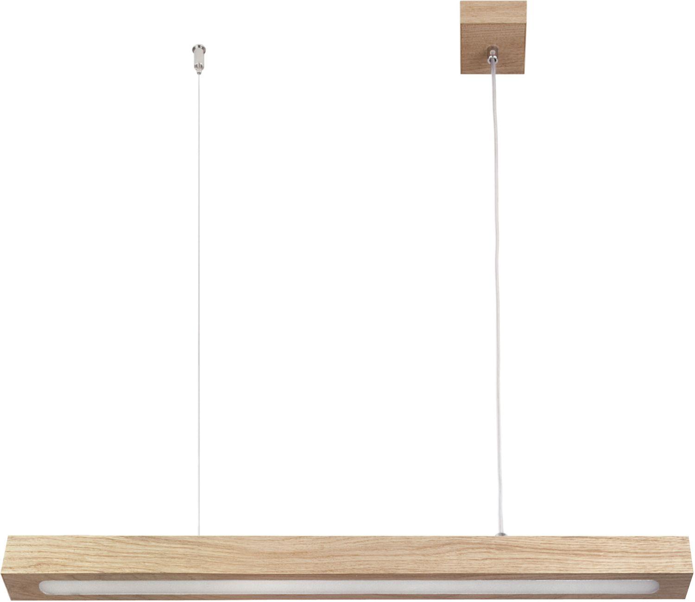Schmale Hängeleuchte Futura aus Holz lang LED