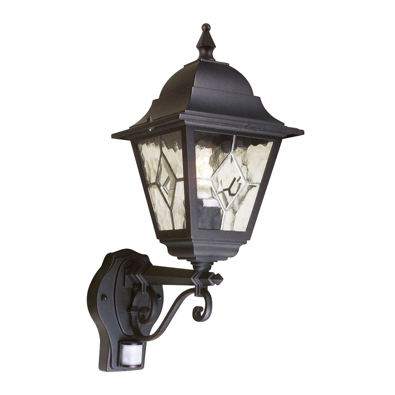 Schwarze Hoflampe mit Bewegungsmelder IP43 LEADWORTH