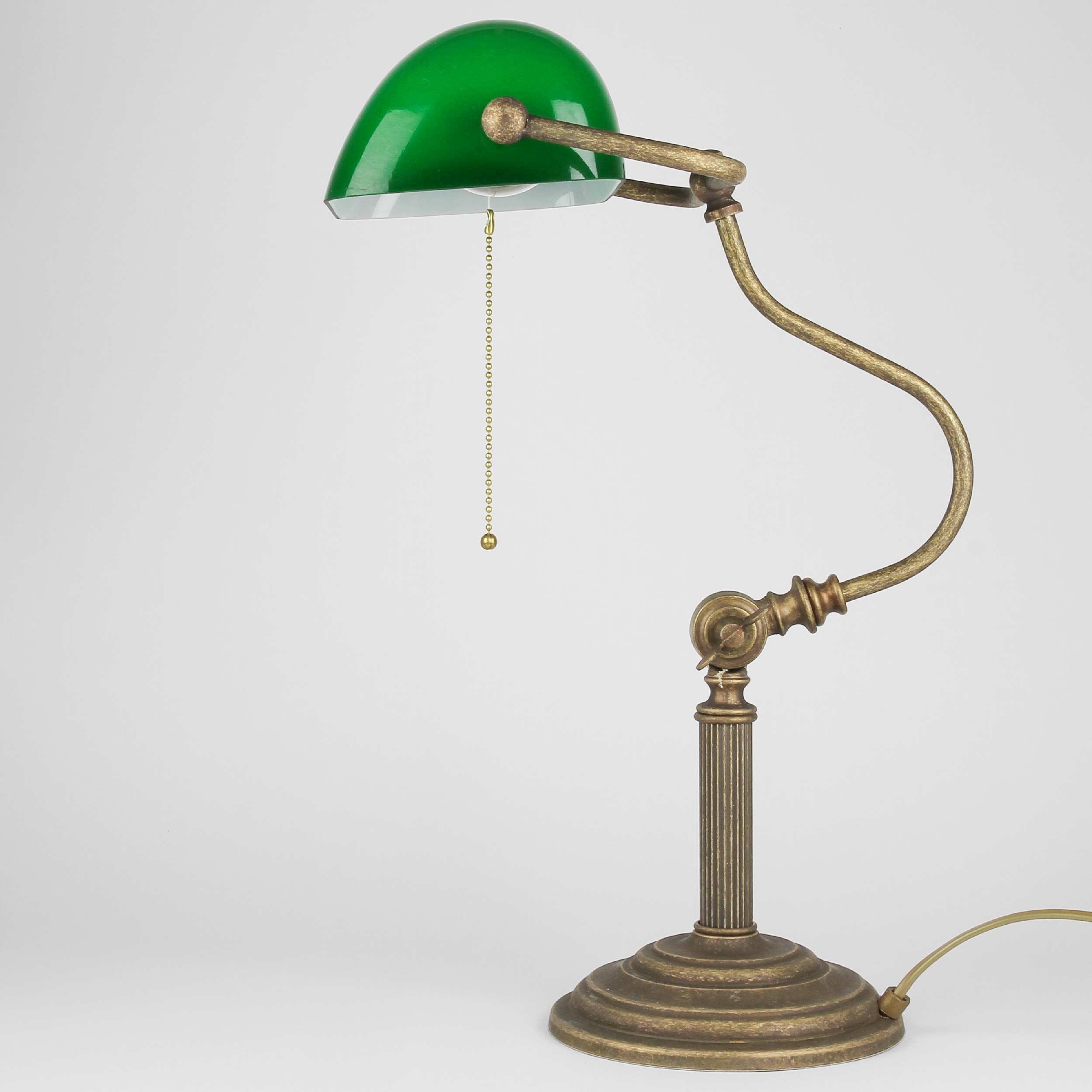 Premium Bankerlampe aus Messing in Antik Bronze Tischleuchte