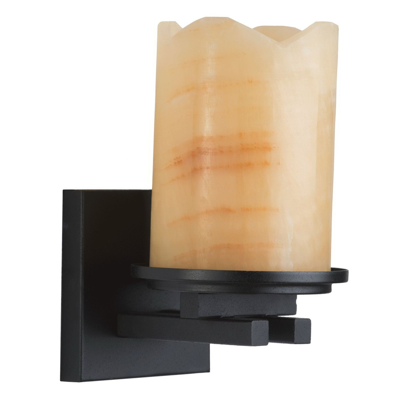 Rustikale Wandleuchte Marmor Schirm Orange Schwarz