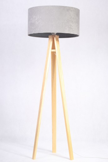 Standleuchte Holz Grau Retro Dreibein 145cm Wohnzimmer