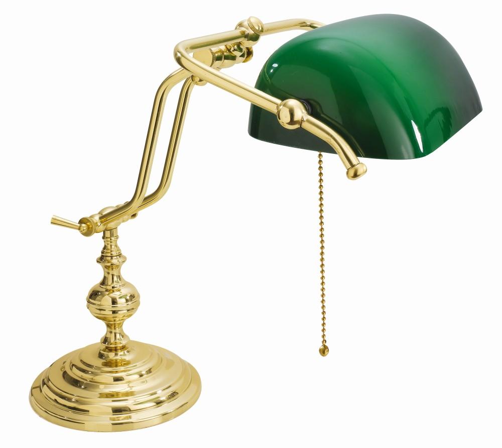 Gebogene Jugendstil Bankerlampe Vergoldet 24 Karat