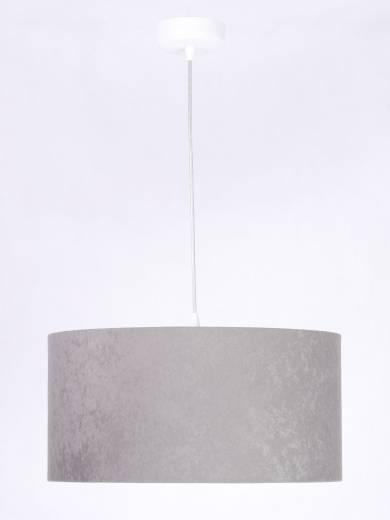 Pendellampe Grau Weiß Stoff rund Retro Esstisch