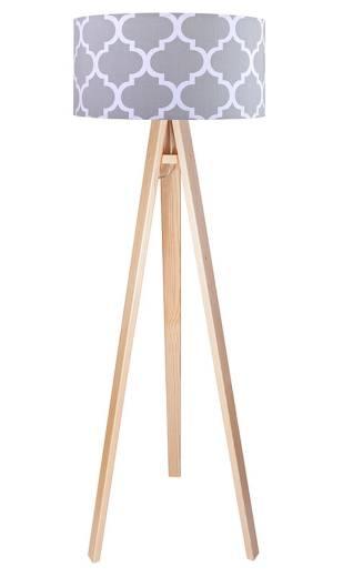 Holz Stehlampe Braun Grau Retro 140cm Wohnzimmer