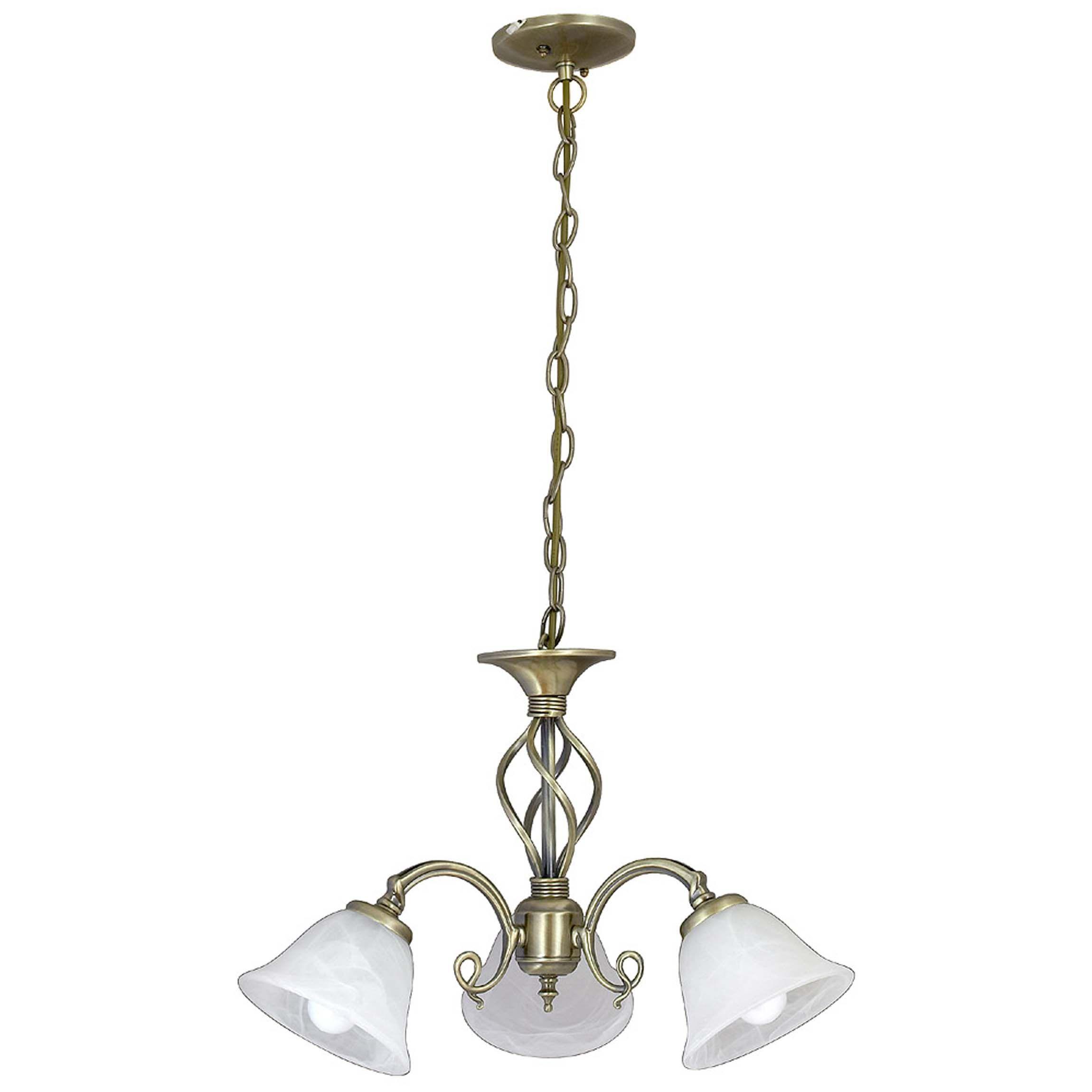 Höhenverstellbare Jugendstil Deckenleuchte mit Glasschirm in Weiß