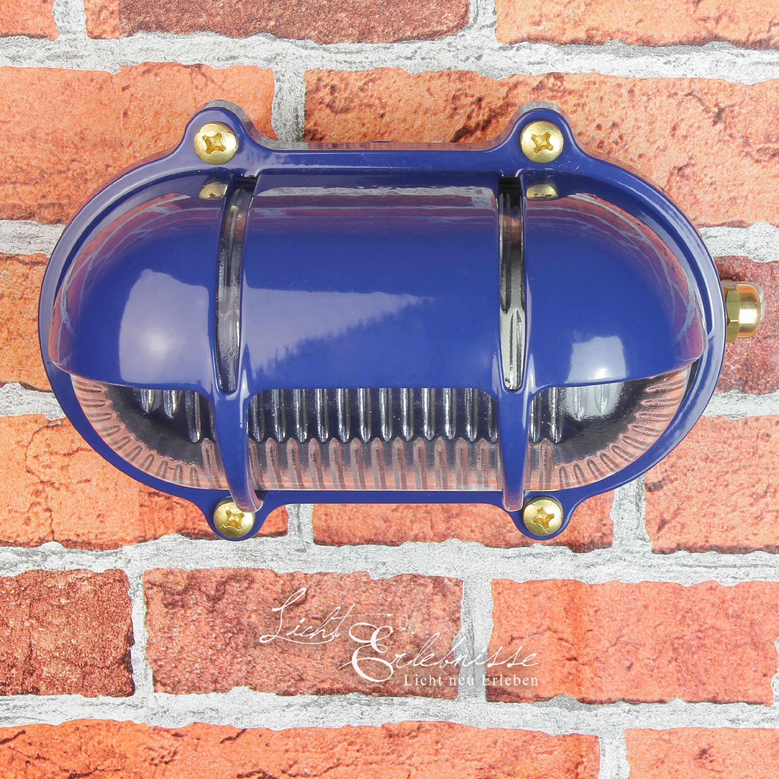Blaue Außen Wandlampe aus Echt-Messing SKIATHOS