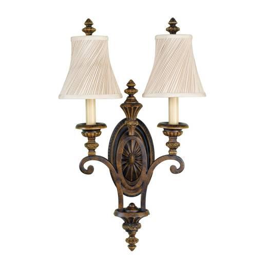 Wandlampe ANABELL 1 Walnuss 2xE27 Landhaus Lampe