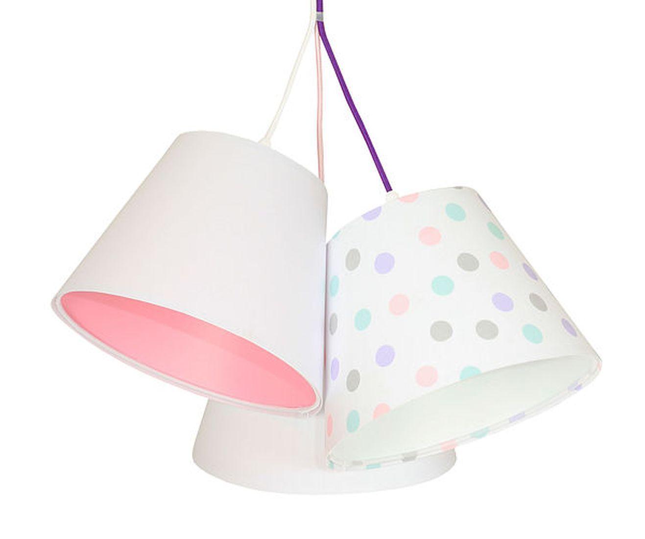 Kinderzimmerlampe SAMY Weiß Rosa gepunktet 3-flmg