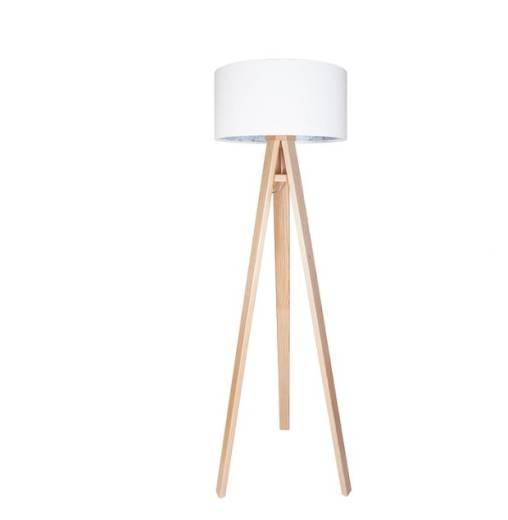 Stehlampe Drei Beine Holz Weiß Blau Wohnzimmer