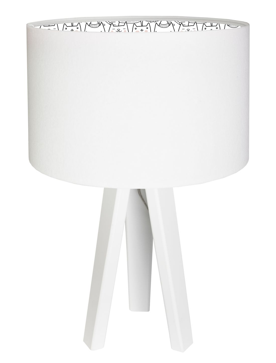 Tischlampe Kinderlampe Weiß Katzen Kinderzimmer