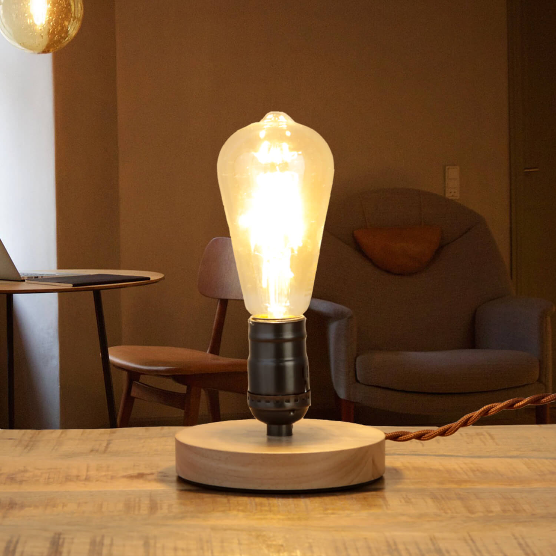 Tischlampe Industrie Design Metall Holz E27 klein