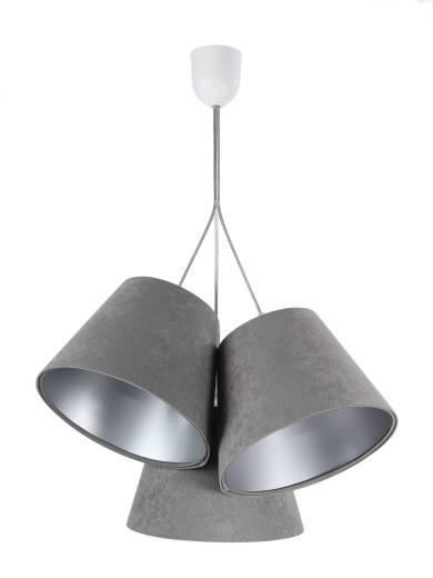 Hängelampe Schirm Grau Silber Stoff 3-flmg Retro
