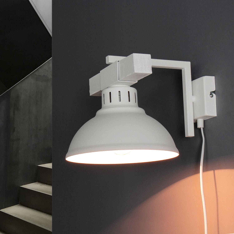 Shabby Chic Wandlampe Weiß mit Steckdosenanschluss